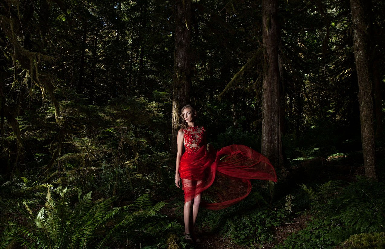 Fashion Editorial Shoot in the Forest with model Dianne and professional Fashion Photographer Sid Rane of Orange County, Los Angeles, California